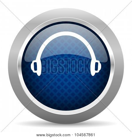 headphones blue circle glossy web icon on white background, round button for internet and mobile app