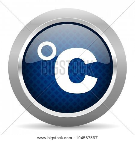 celsius blue circle glossy web icon on white background, round button for internet and mobile app