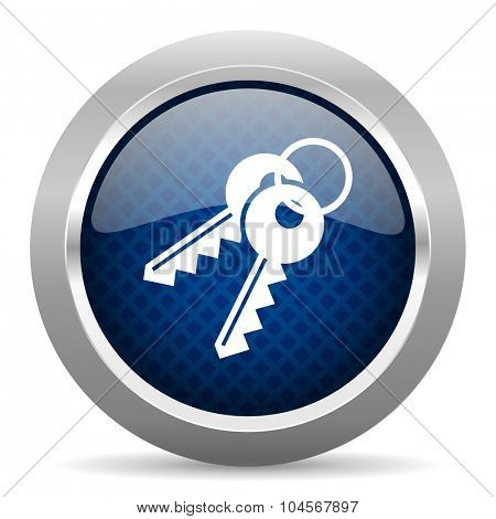 keys blue circle glossy web icon on white background, round button for internet and mobile app