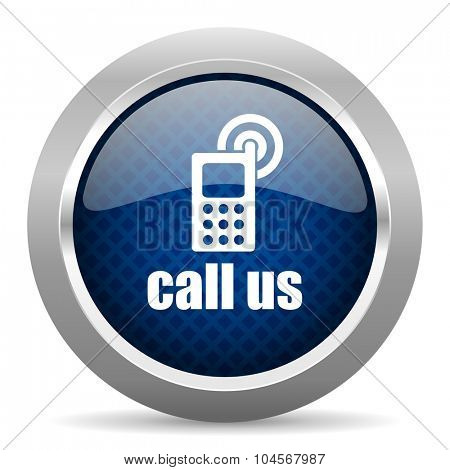 call us blue circle glossy web icon on white background, round button for internet and mobile app