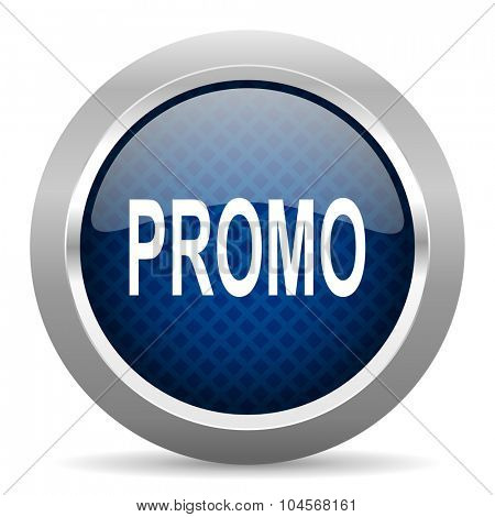 promo blue circle glossy web icon on white background, round button for internet and mobile app