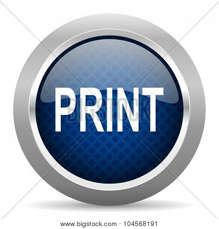 print blue circle glossy web icon on white background, round button for internet and mobile app