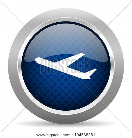 deparures blue circle glossy web icon on white background, round button for internet and mobile app