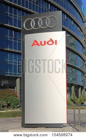 Audi Dealership Logo Stand In Herzliya, Israel.