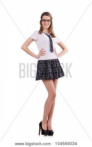Young nice student female isolated on white