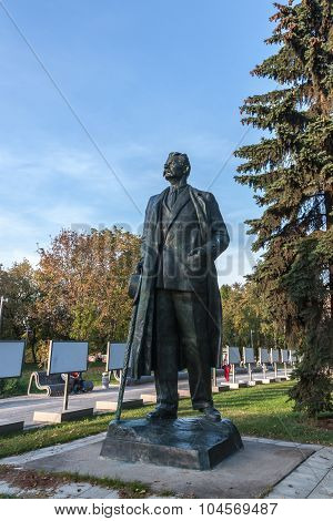 Moscow, Russia - September 25, 2015:  City artistic park Muzeon. Sculpture of the famous Soviet revolutionary writer Alexey Gorky.