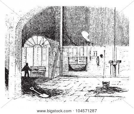 Furnace at the city saw mills, vintage engraved illustration.