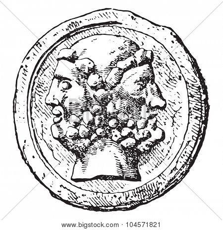 Janus, vintage engraved illustration.