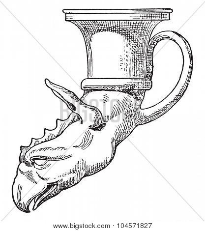 Chimera's head rhyton, vintage engraved illustration.