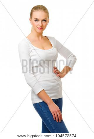 Young girl in jeans isolated