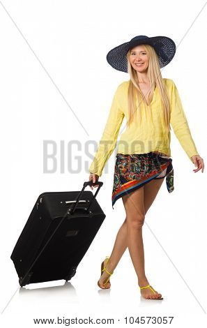 Young woman in travelling concept on white