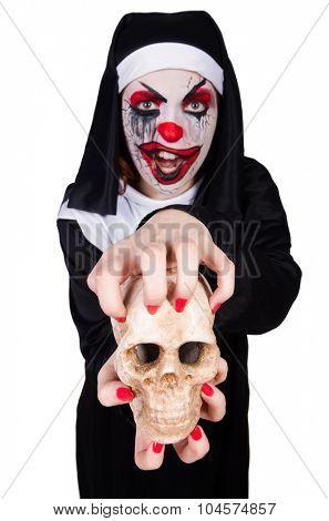 Scary nun in halloween concept