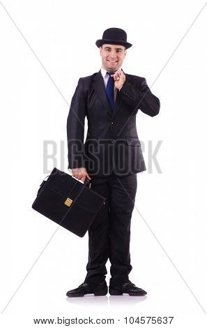 Funny businessman isolated on white