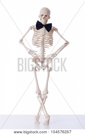 Funny skeleton isolated on white