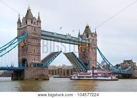 LONDON, UK - APRIL15, 2015: Tower bridge open