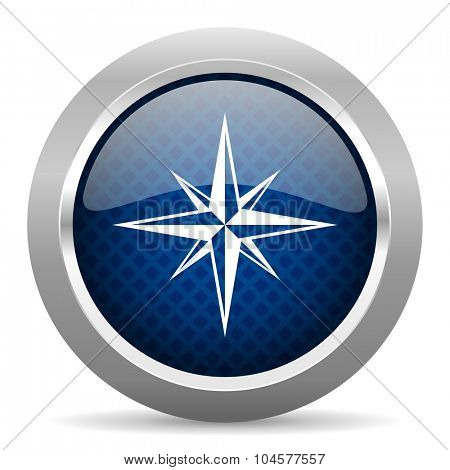 compass blue circle glossy web icon on white background, round button for internet and mobile app