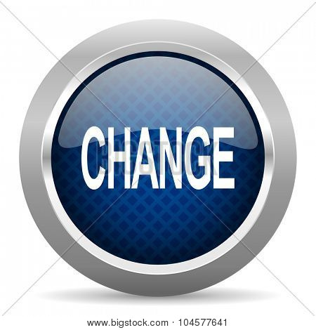 change blue circle glossy web icon on white background, round button for internet and mobile app