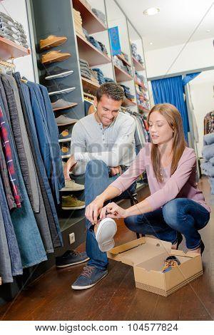 Couple shoe shopping
