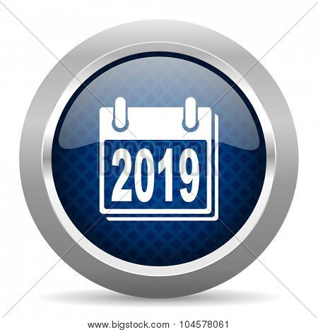 new year 2019 blue circle glossy web icon on white background, round button for internet and mobile app