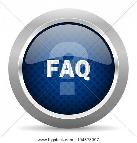 faq blue circle glossy web icon on white background, round button for internet and mobile app
