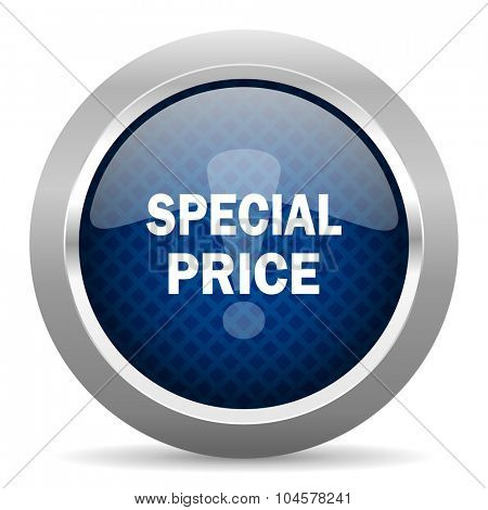 special price blue circle glossy web icon on white background, round button for internet and mobile app