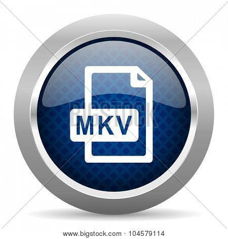 mkv file blue circle glossy web icon on white background, round button for internet and mobile app