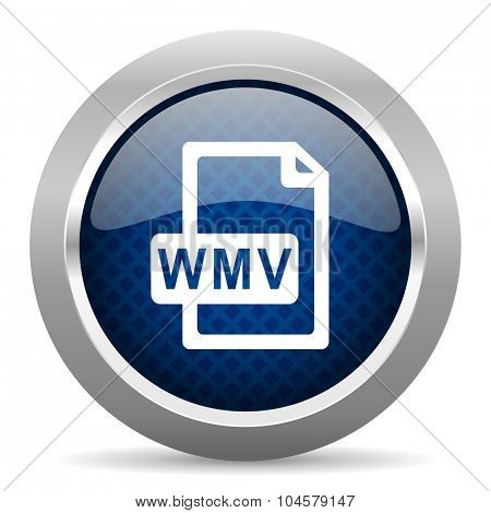 wmv file blue circle glossy web icon on white background, round button for internet and mobile app