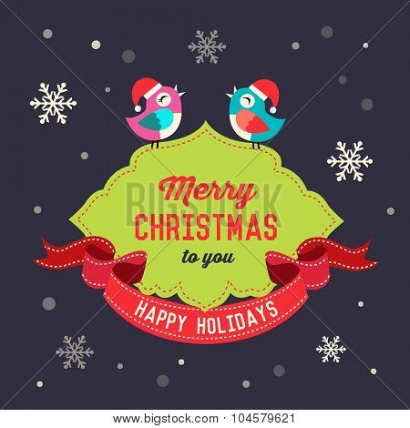 Christmas decoration with cute bird and holiday wishes. Vector greeting card poster