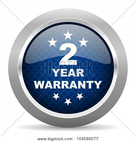 warranty guarantee 2 year blue circle glossy web icon on white background, round button for internet and mobile app