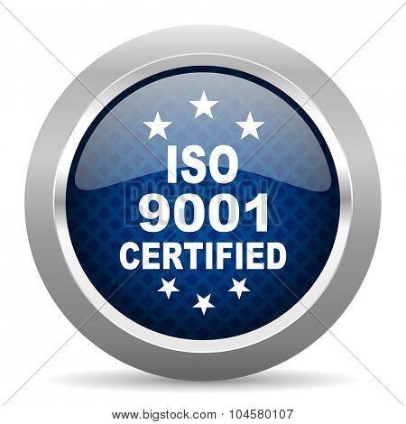 iso 9001 blue circle glossy web icon on white background, round button for internet and mobile app