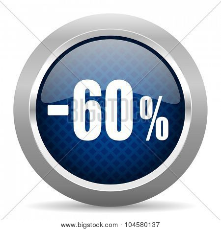 60 percent sale retail blue circle glossy web icon on white background, round button for internet and mobile app