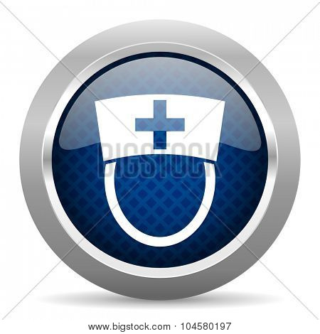nurse blue circle glossy web icon on white background, round button for internet and mobile app