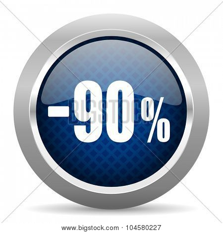90 percent sale retail blue circle glossy web icon on white background, round button for internet and mobile app