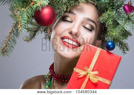 christmas happy woman over white background