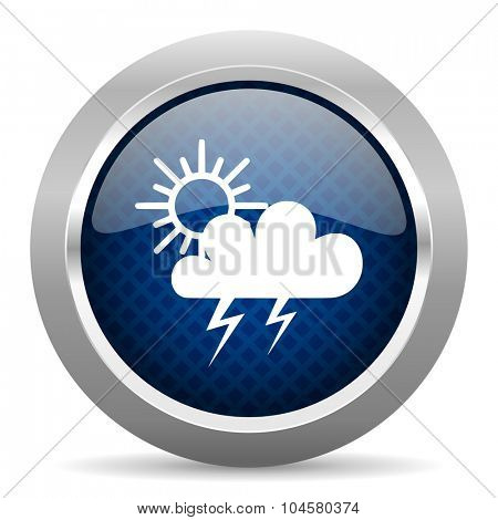 storm blue circle glossy web icon on white background, round button for internet and mobile app