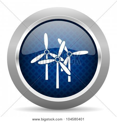 windmill blue circle glossy web icon on white background, round button for internet and mobile app