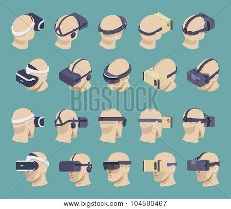 Isometric virtual reality headsets