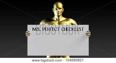 Miss Perfect Checklist with a Man Holding Placard Poster Template