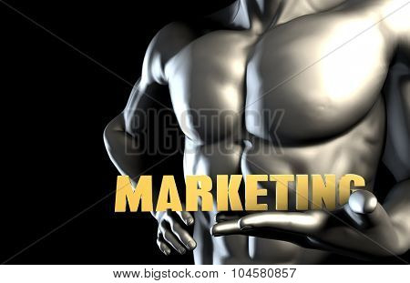Marketing With a Business Man Holding Up as Concept