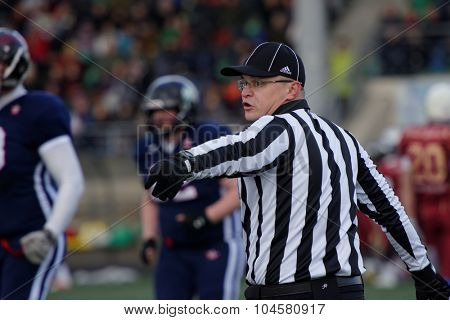 PUSHKIN, LENINGRAD OBLAST, RUSSIA - OCTOBER 10, 2015: Referee during the qualifying match of American Football European Championship 2016 Russia vs Norway. Russia won the match 20:0