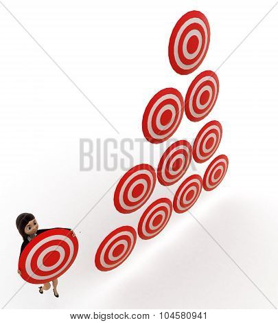 3D Woman Holding Target Board And Lot Of Targets Boards Near By Concept