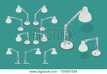 Isometric desk lamps