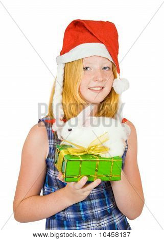 Girl In Santa Hat With Pet Rabbits