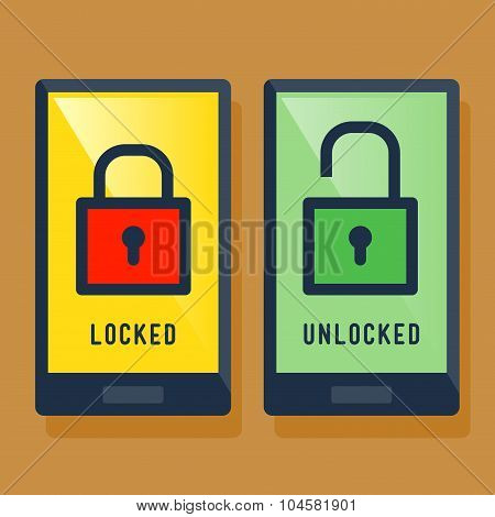 Smart Phone Locked And Unlocked Screen Icon