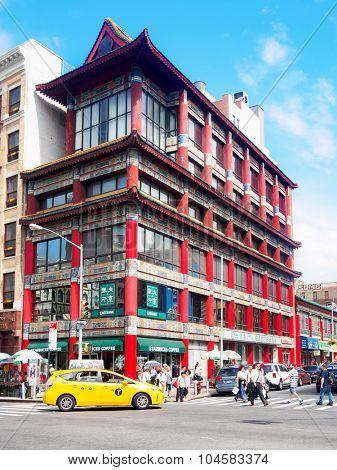NEW YORK,USA - AUGUST 21,2015 : Traditional chinese architecture at Chinatown in New York City