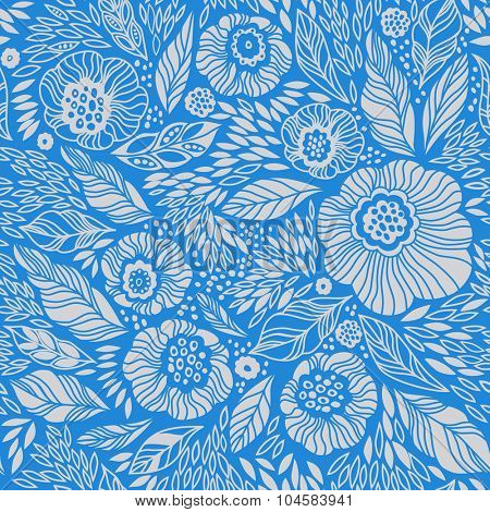 Pale blue decorative floral seamless background pattern. Vintage wallpaper background