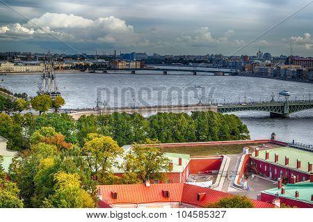 Top View  Neva River In St. Petersburg Trinity Foundry Bridge