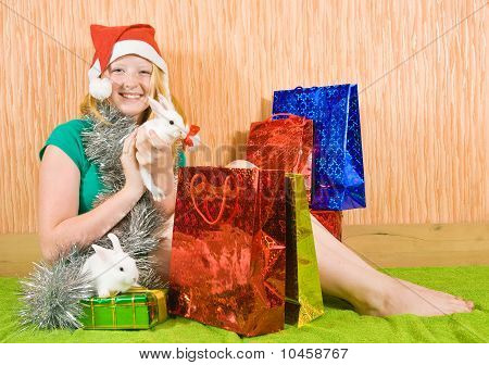 Teenager Girl With Christmas Gifts