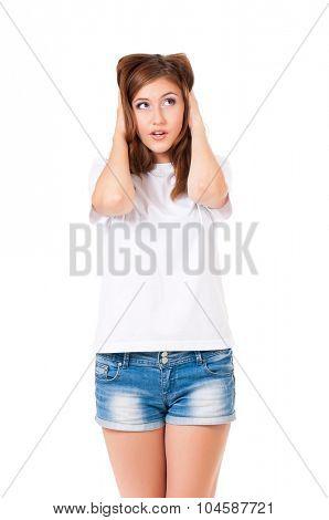 Shocked beautiful woman, isolated on white background