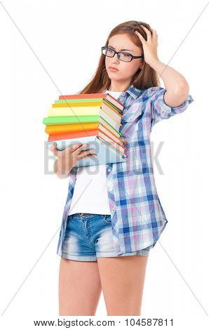 Beautiful student girl with eyeglasses and books, isolated on white background